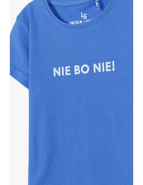 Bawełniany t-shirt dziewczęcy z napisem Nie Bo Nie