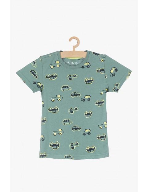 Bawełniany t-shirt dla chłopca- zielony w samochody