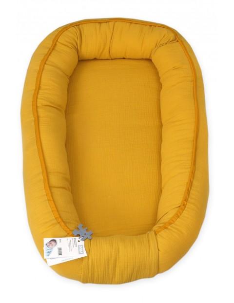 Kokon niemowlęcy muślinowy- żółty 70x45cm