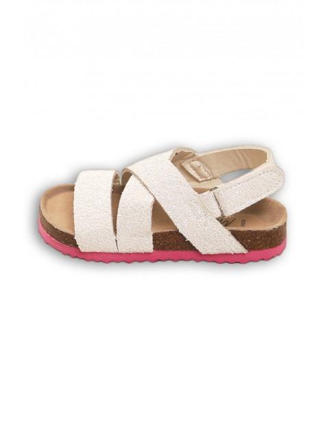 Sandały dziewczęce z brokatem białe