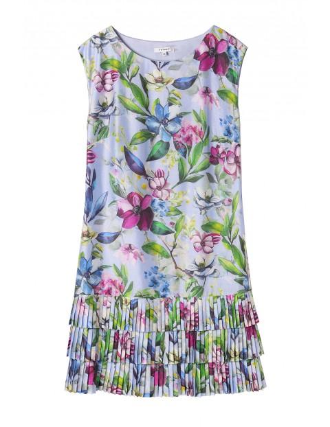 Mini sukienka z plisowanym dołem w kolorowe kwiaty
