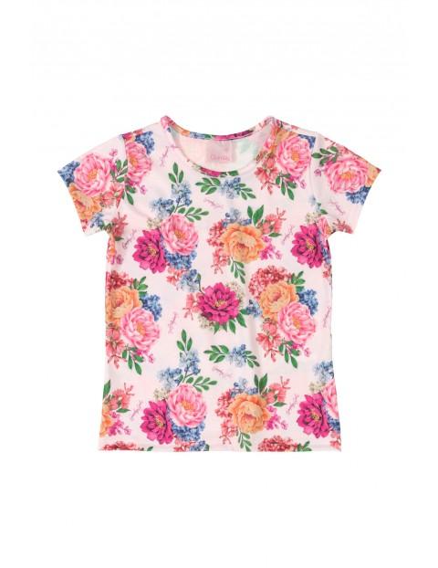 Koszulka sportowa w kwiatki - biała