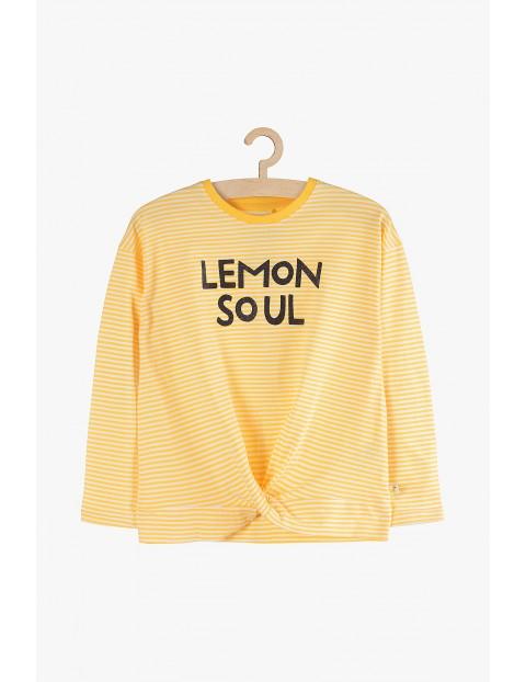 Bluzka dziewczęca żółta z wiązaniem i napisem -Lemon Soul