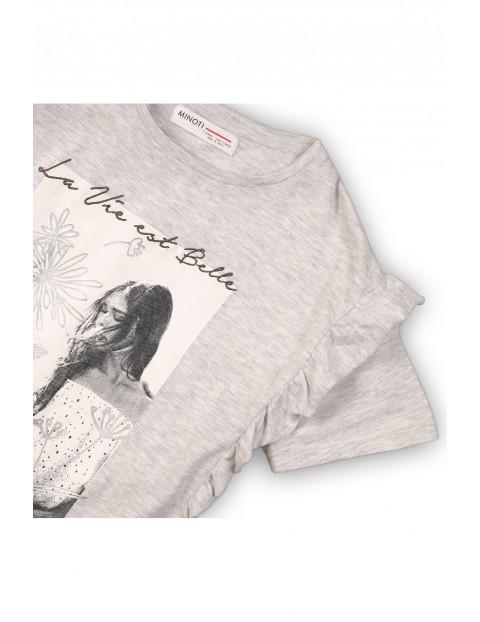 Szary t-shirt dziewczęcy z nadrukami