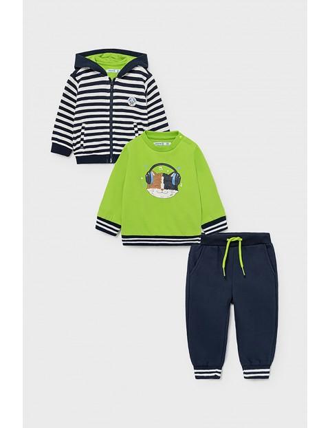 Komplet chłopięcy - rozpinana bluza z kapturem + pulower + długie spodnie dresowe