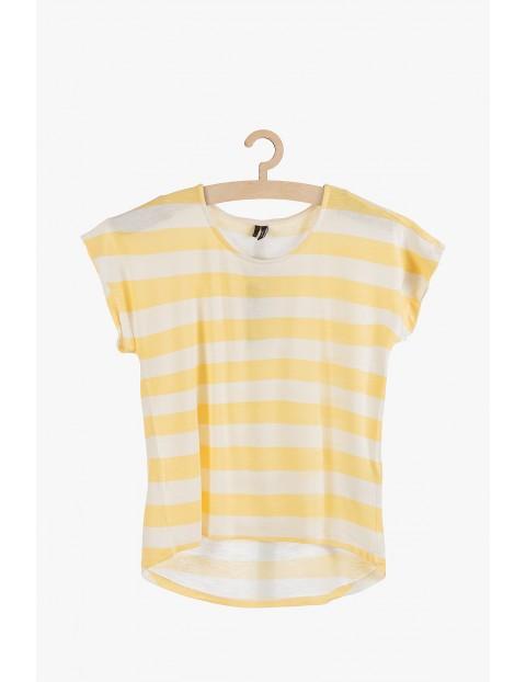T-shirt damski w paski z przedłużonym tyłem