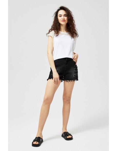 Szorty damskie jeansowe typu high waist czarne