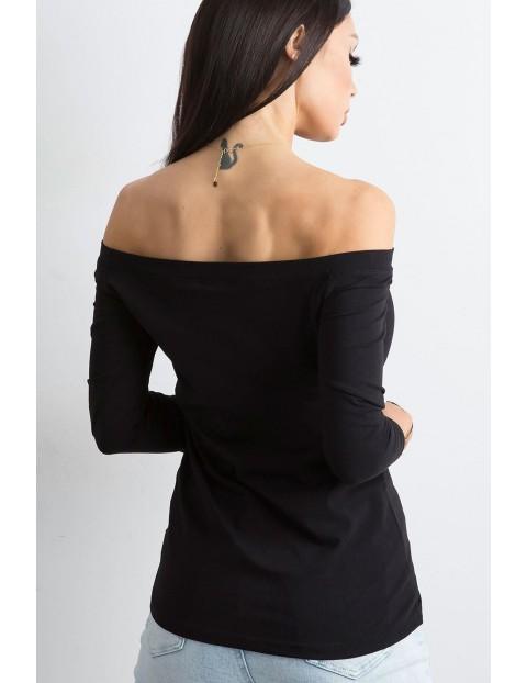 BASIC Bluzka damska z długim rękawem z odkrytymi ramionami - czarna