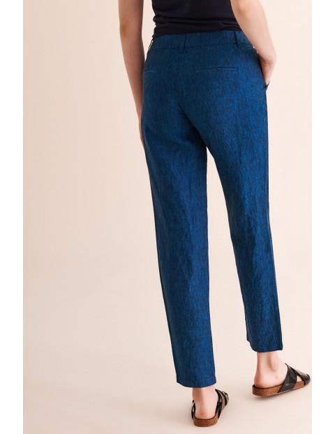 Lniane spodnie damskie -7/8 nogawka - granatowe Tatuum