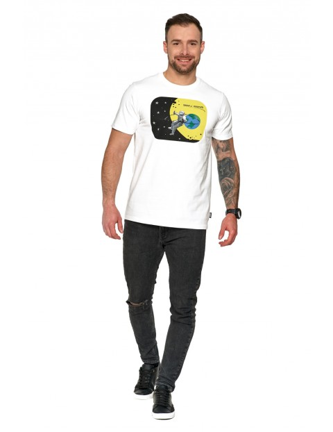 Modna bawełniana koszulka męska biała- Sięgaj gwiazd