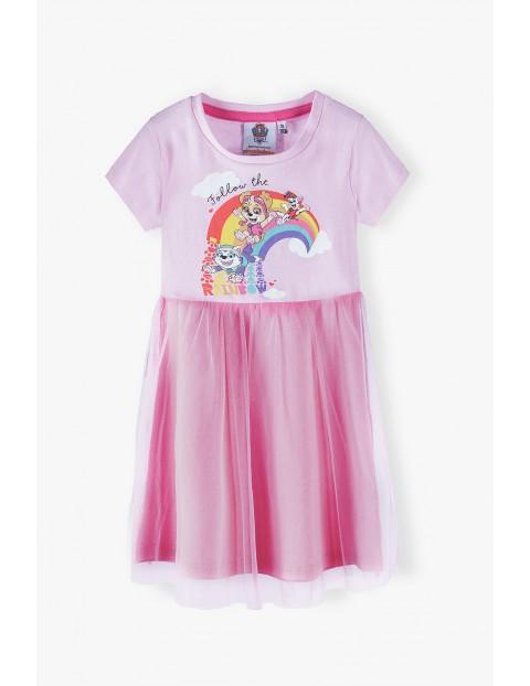 Sukienka dziewczęca Psi Patrol - różowa z tiulową falbanką
