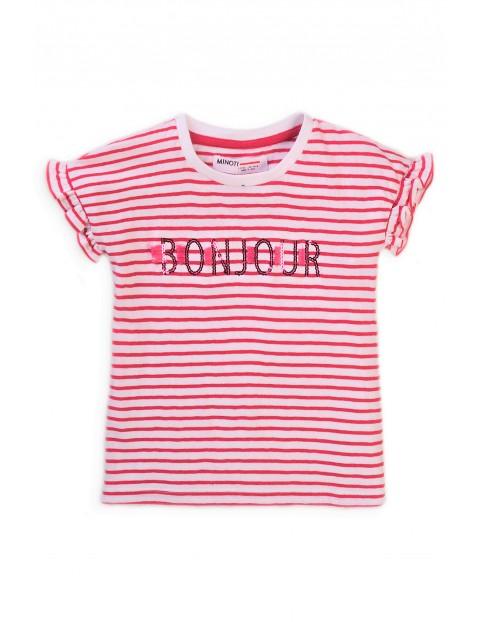 T-shirt dziewczęcy bawełniany w paski