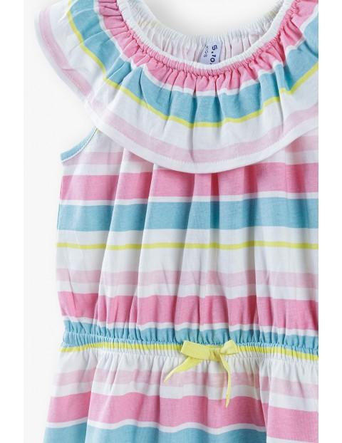 Sukienka na lato- klorowe paski