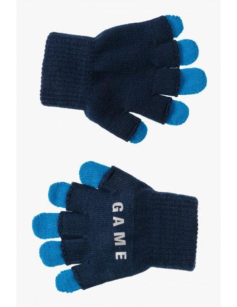 Rękawiczki chłopięce- granatowe z elementami odblaskowymi