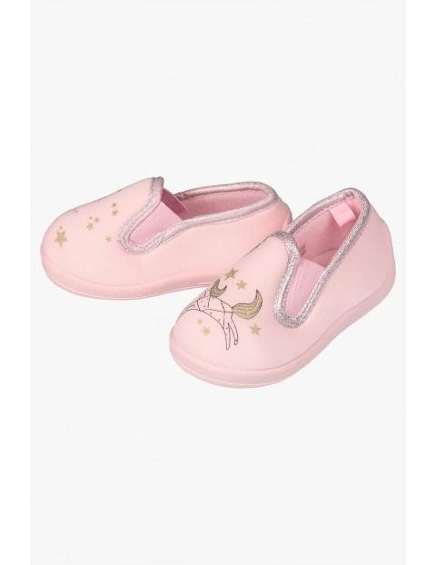 Kapcie dla dziewczynki- rózowe z jednorożcem