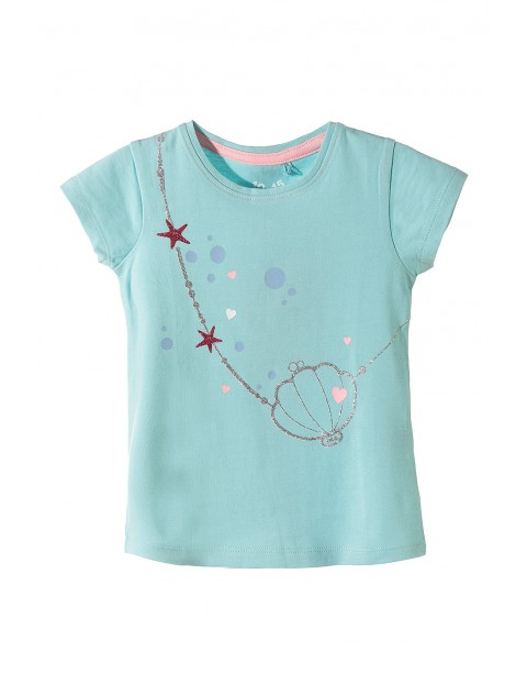 Koszulka z krótkim rękawem dla dziewczynki-muszelki