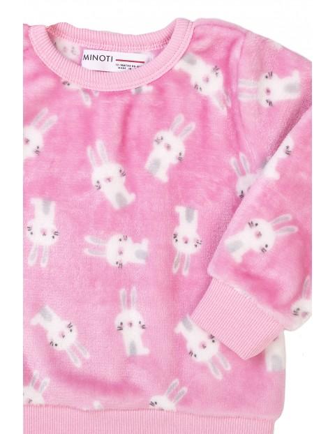 Piżama niemowlęca dwuczęściowa różowa w króliczki