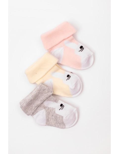 Skarpetki dla niemowlaka- króliki 3 pak