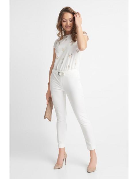 Długie eleganckie białe spodnie damskie