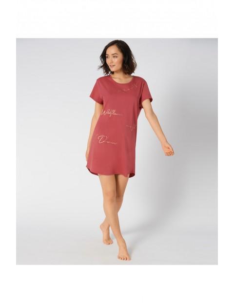 Bordowa koszula nocna z kolekcji Lounge-Me Cotton z napisem