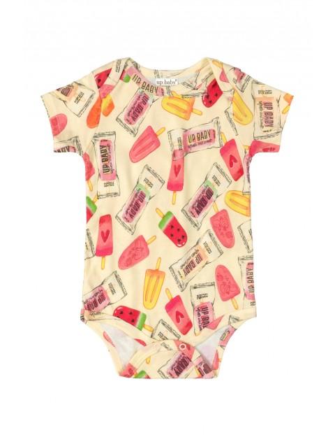 Body niemowlęce  we wzorki - pomarańczowe