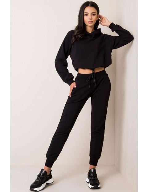 BASIC Komplet dresowy damski - bluza z kapturem+ spodnie - czarny