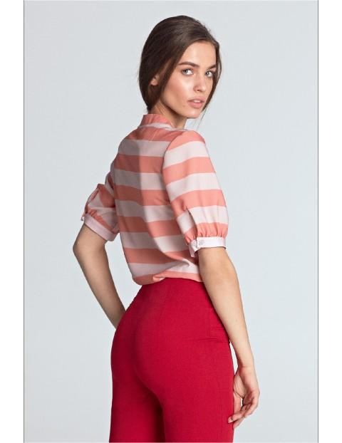 Bluzka damska z wiązaniem w pomarańczowe paski