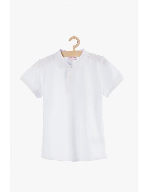 Koszulka chłopięca biała z kołnierzykiem