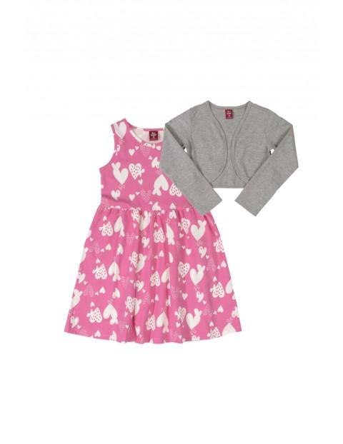 Komplet dziewczęcy- różowa sukienka w serduszka i szare bolerko