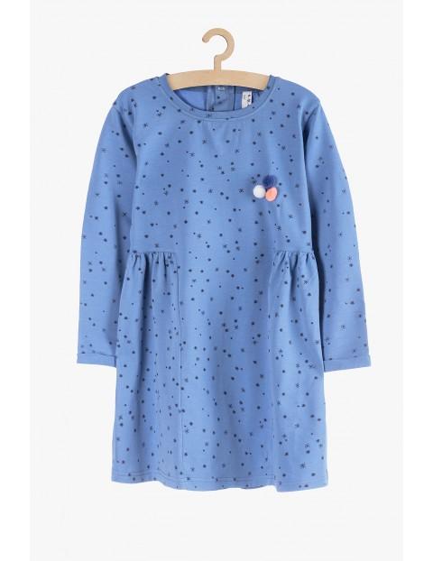 Dzianinowa sukienka z długim rękawem - niebieska w gwiazdki