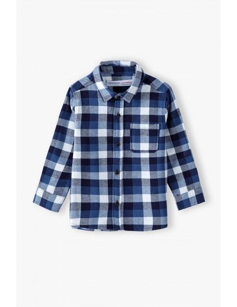 Koszula flanelowa dla niemowlaka- granatowa w kratkę
