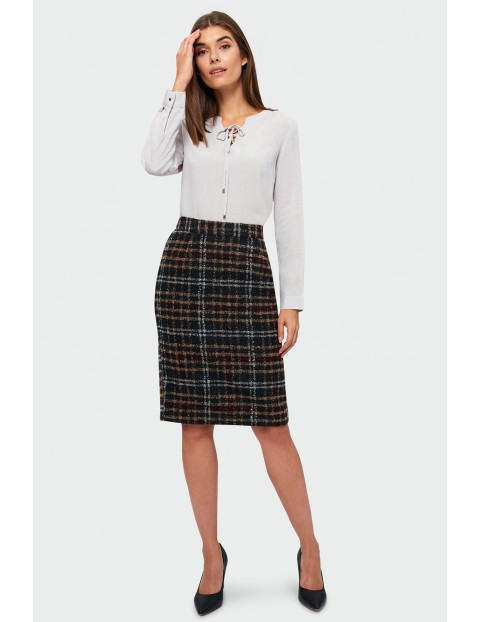 Ciepła spódnica damska- czarno brązowa