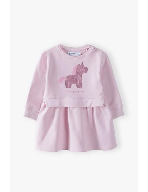 Sukienka niemowlęca z jednorożcem - różowa z miękkiej dzianiny