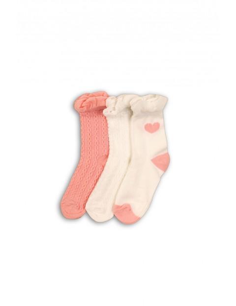 Skarpetki dla dziewczynki- 3pak w pastelowych kolorach 80/92