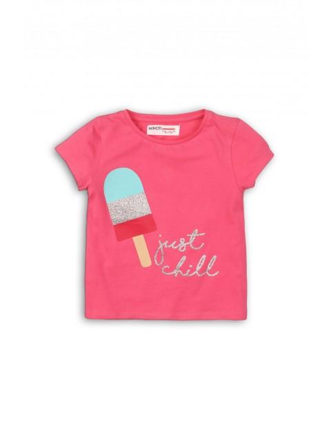 Różowy t-shirt niemowlęcy z nadrukiem
