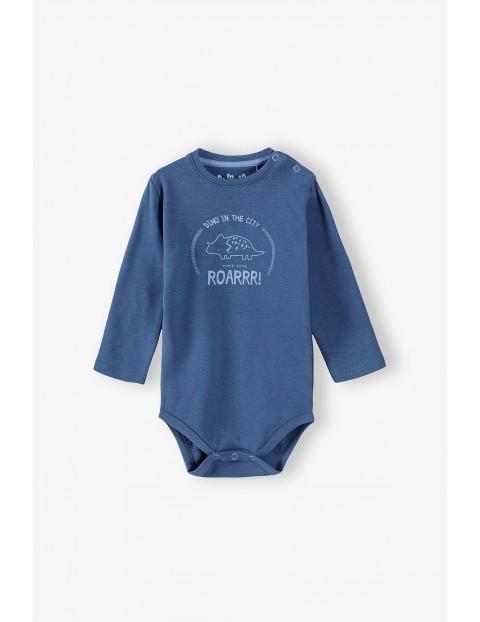 Body niemowlęce dzianinowe z dinozaurem - niebieskie