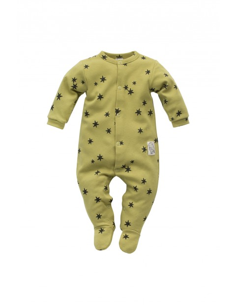 Pajac niemowlęcy bawełniany- zielony w gwiazdki