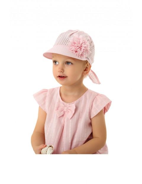 Czapka dziewczęca różowa z daszkiem rozm 50