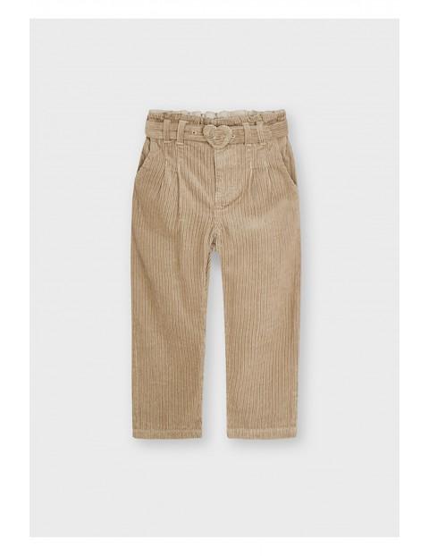 Bawełniane spodnie dziewczęce z ozodbnym paskie - brązowe