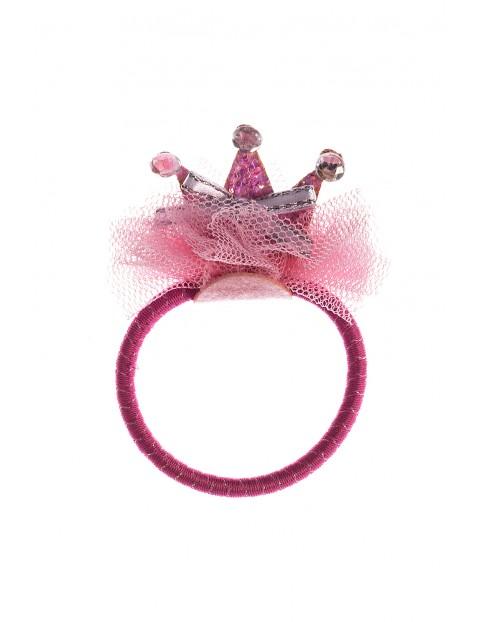 Gumka do włosów różowa z koroną