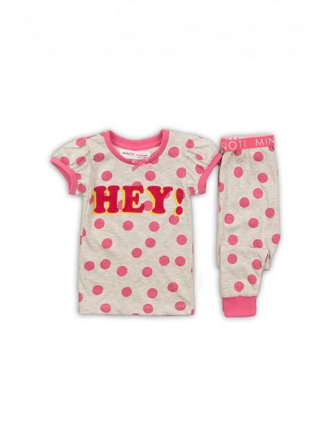 Pidżama dziewczęca szara w różowe kropki Hey