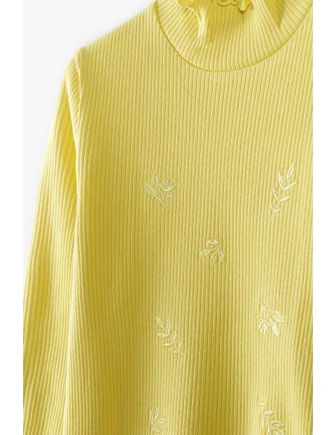 Żółta prążkowana bluzka dziewczęca w liście