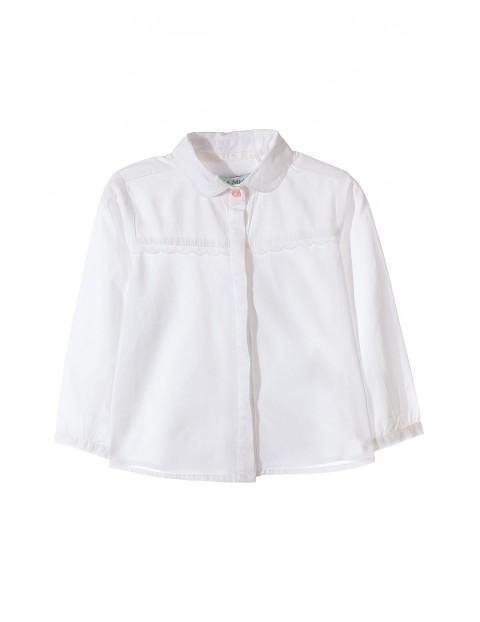 Koszula biała z długim rękawem dla dziewczynki