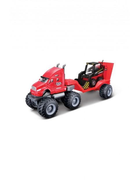 Pojazd budowlany z lawetą - czerwony