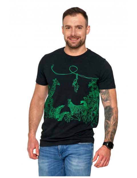 Czarny T-shirt męski Safari
