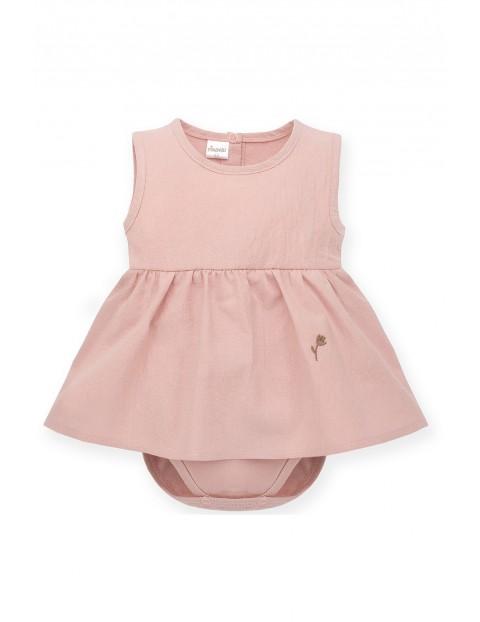 Sukienka-body na ramiączka różowa z bawełny