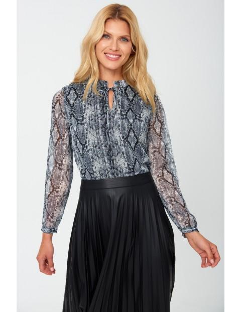 Koszula damska we wzorki i ozdobnym  wiązaniem - szara