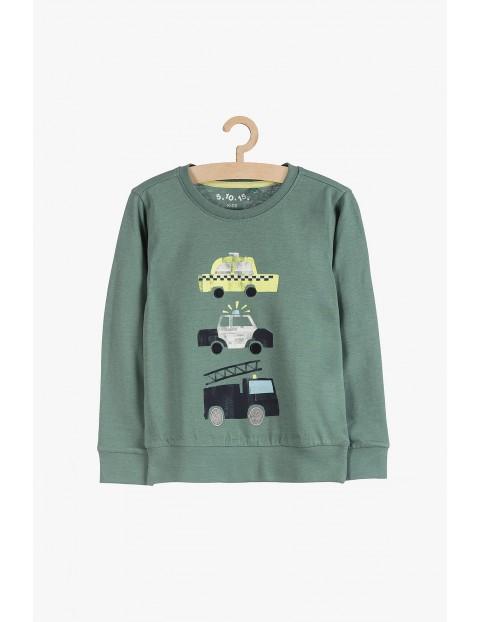 Bluzka chłopięca zielona z samochodami