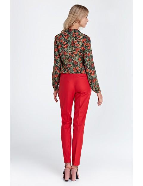 Klasyczne długie spodnie damskie- czerwone