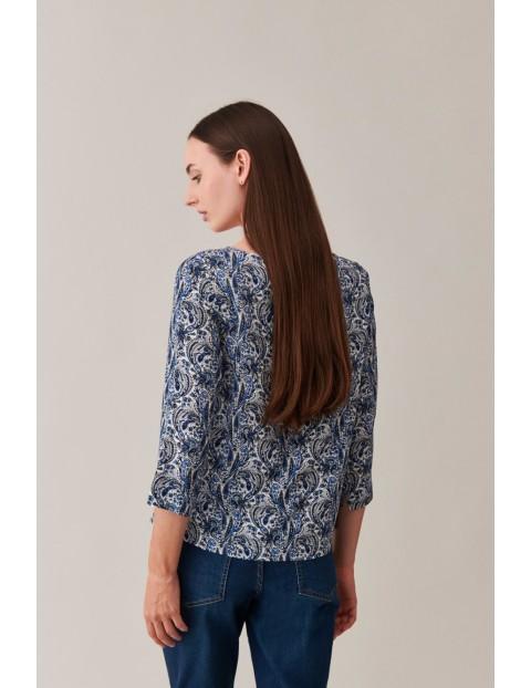 Wiskozowa bluzka damska ze wzorem Vintage